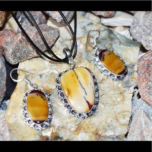 Mookaite Pendant & Earrings Set